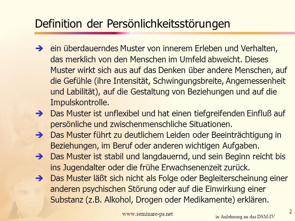 3 www.seminare-ps.net Persönlichkeitsstörungen in Anlehnung an das DSM-IV