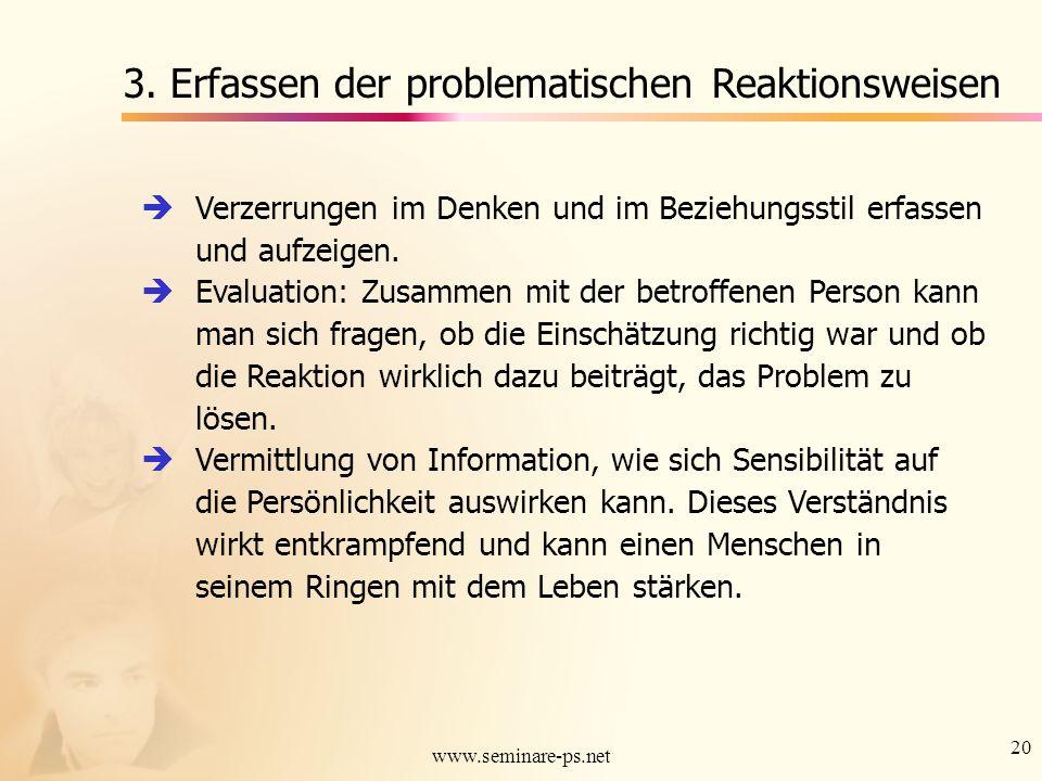 20 www.seminare-ps.net 3. Erfassen der problematischen Reaktionsweisen Verzerrungen im Denken und im Beziehungsstil erfassen und aufzeigen. Evaluation