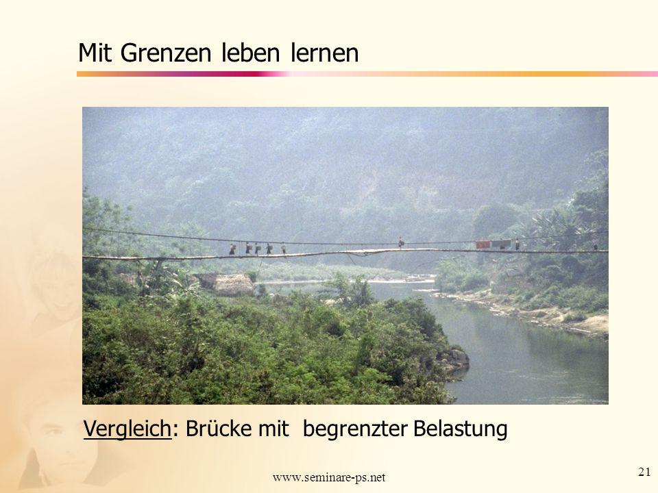 21 www.seminare-ps.net Mit Grenzen leben lernen Vergleich: Brücke mit begrenzter Belastung