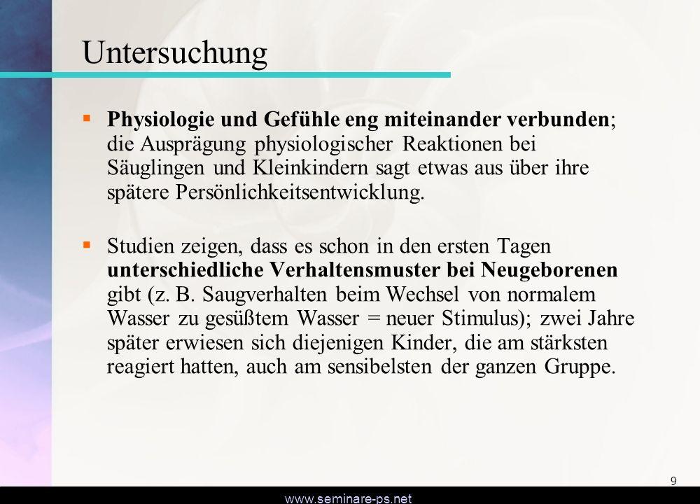 www.seminare-ps.net 9 Untersuchung Physiologie und Gefühle eng miteinander verbunden; die Ausprägung physiologischer Reaktionen bei Säuglingen und Kle