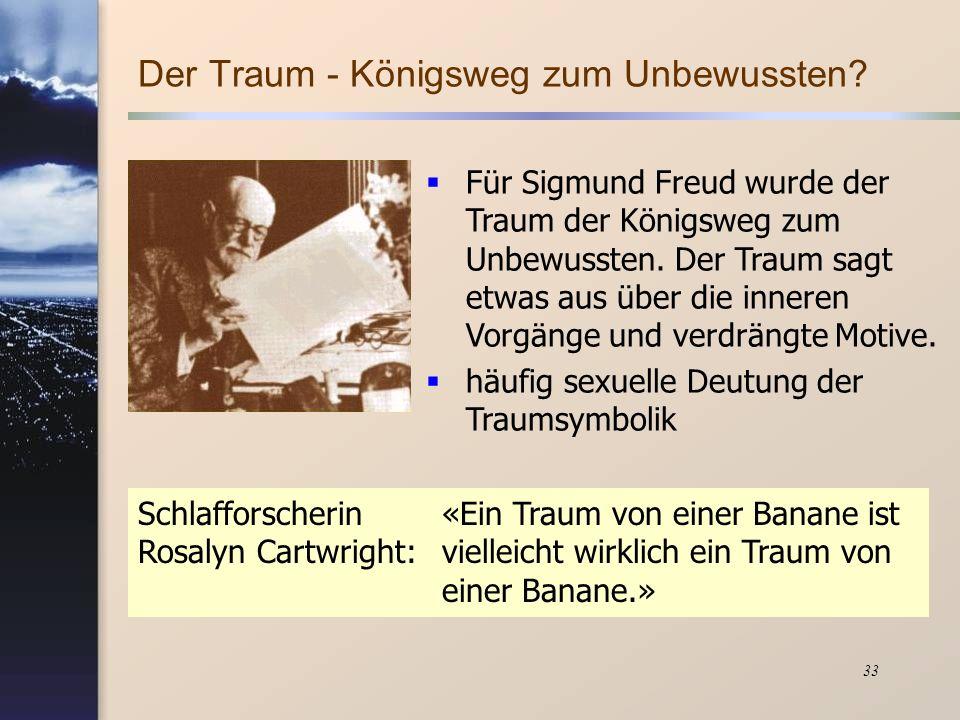 33 Für Sigmund Freud wurde der Traum der Königsweg zum Unbewussten. Der Traum sagt etwas aus über die inneren Vorgänge und verdrängte Motive. häufig s