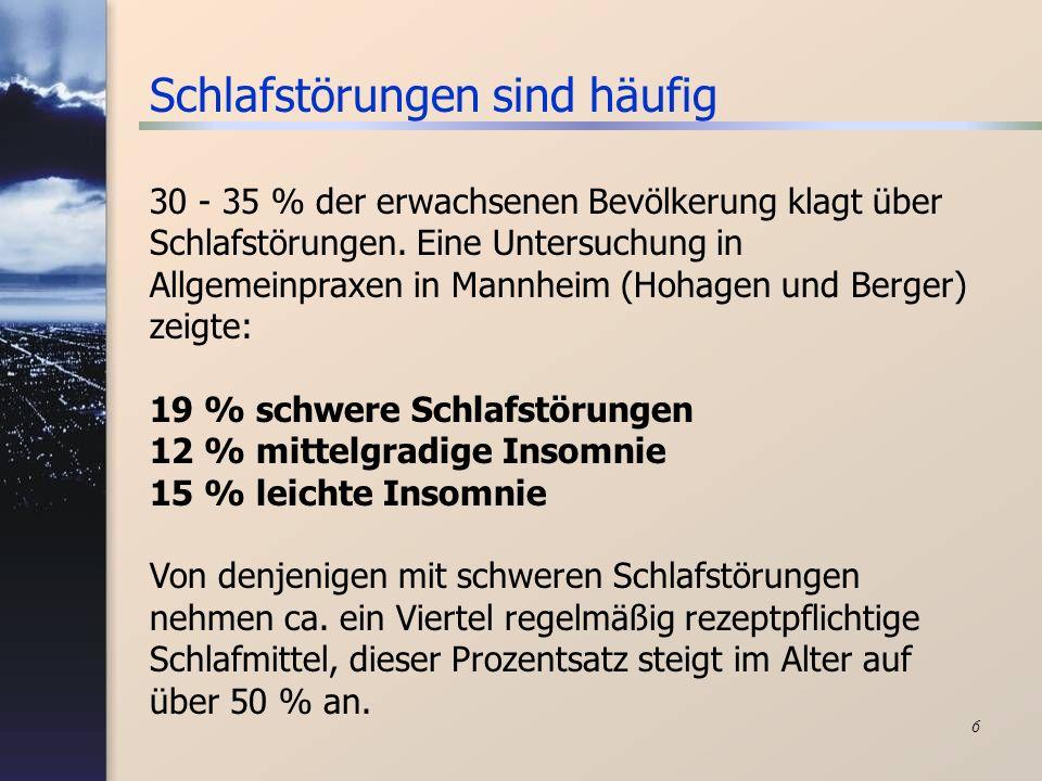 6 Schlafstörungen sind häufig 30 - 35 % der erwachsenen Bevölkerung klagt über Schlafstörungen. Eine Untersuchung in Allgemeinpraxen in Mannheim (Hoha