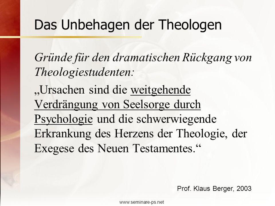 www.seminare-ps.net Gründe für den dramatischen Rückgang von Theologiestudenten: Ursachen sind die weitgehende Verdrängung von Seelsorge durch Psychol