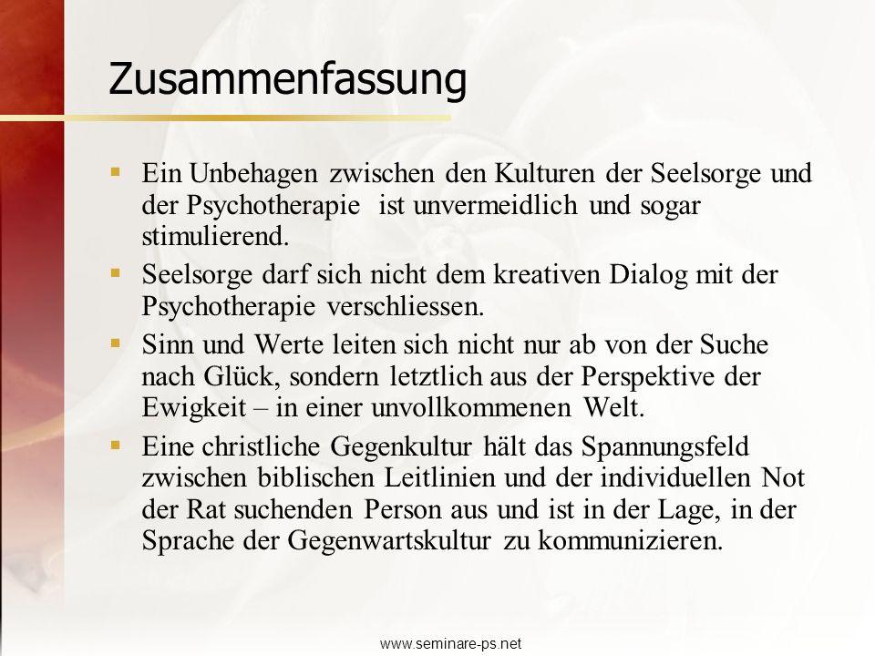 www.seminare-ps.net Zusammenfassung Ein Unbehagen zwischen den Kulturen der Seelsorge und der Psychotherapie ist unvermeidlich und sogar stimulierend.