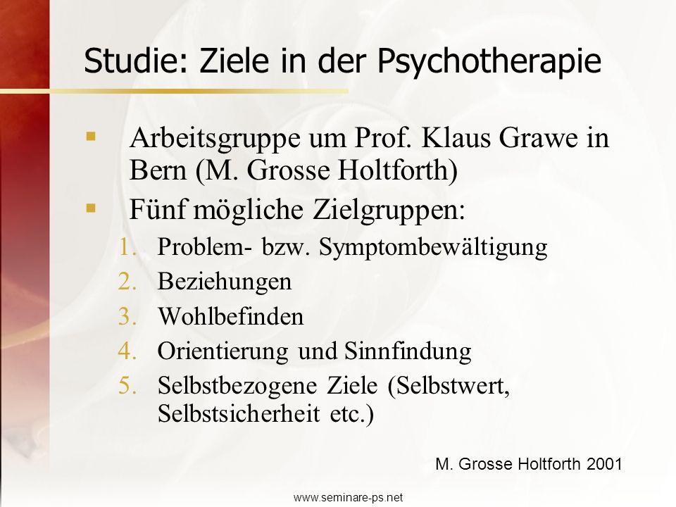 www.seminare-ps.net Studie: Ziele in der Psychotherapie Arbeitsgruppe um Prof. Klaus Grawe in Bern (M. Grosse Holtforth) Fünf mögliche Zielgruppen: 1.