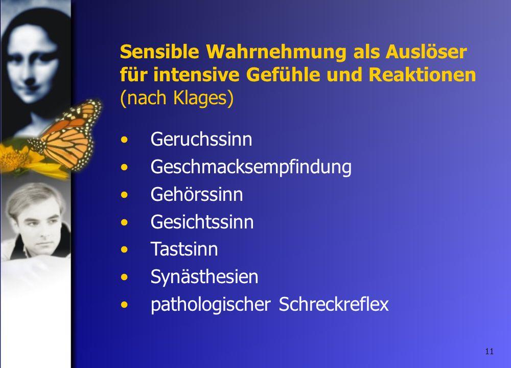 11 Geruchssinn Geschmacksempfindung Gehörssinn Gesichtssinn Tastsinn Synästhesien pathologischer Schreckreflex Sensible Wahrnehmung als Auslöser für i