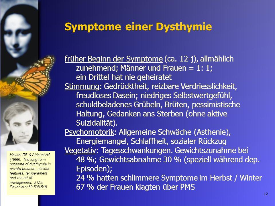 12 Symptome einer Dysthymie früher Beginn der Symptome (ca. 12-j), allmählich zunehmend; Männer und Frauen = 1: 1; ein Drittel hat nie geheiratet Stim