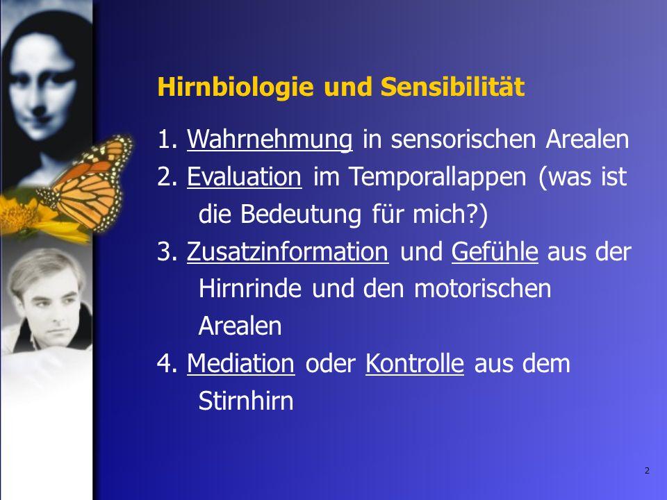 2 1. Wahrnehmung in sensorischen Arealen 2. Evaluation im Temporallappen (was ist die Bedeutung für mich?) 3. Zusatzinformation und Gefühle aus der Hi