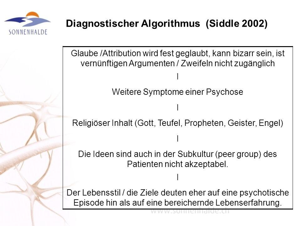 Diagnostischer Algorithmus (Siddle 2002) Glaube /Attribution wird fest geglaubt, kann bizarr sein, ist vernünftigen Argumenten / Zweifeln nicht zugäng