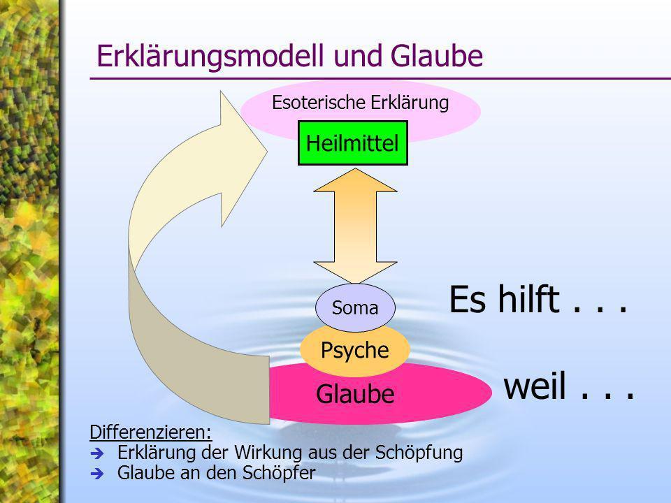 Esoterische Erklärung Glaube weil... Erklärungsmodell und Glaube Heilmittel Psyche Soma Es hilft... Differenzieren: Erklärung der Wirkung aus der Schö