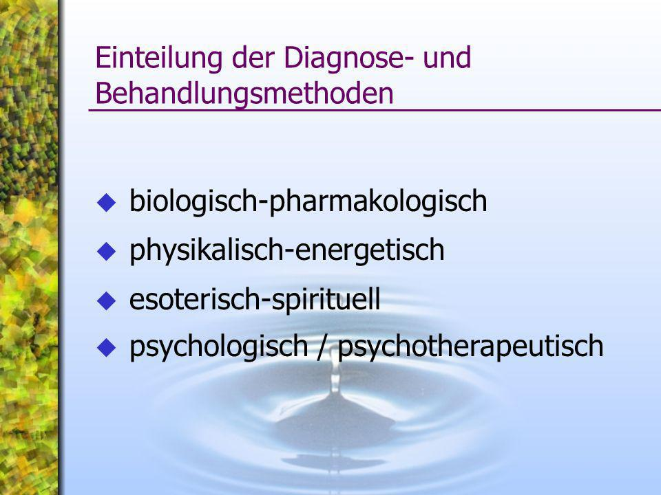 biologisch-pharmakologisch physikalisch-energetisch esoterisch-spirituell psychologisch / psychotherapeutisch Einteilung der Diagnose- und Behandlungs