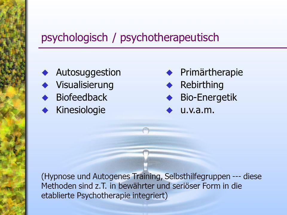 Autosuggestion Visualisierung Biofeedback Kinesiologie psychologisch / psychotherapeutisch (Hypnose und Autogenes Training, Selbsthilfegruppen --- die