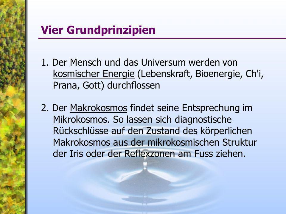 1. Der Mensch und das Universum werden von kosmischer Energie (Lebenskraft, Bioenergie, Ch'i, Prana, Gott) durchflossen 2. Der Makrokosmos findet sein