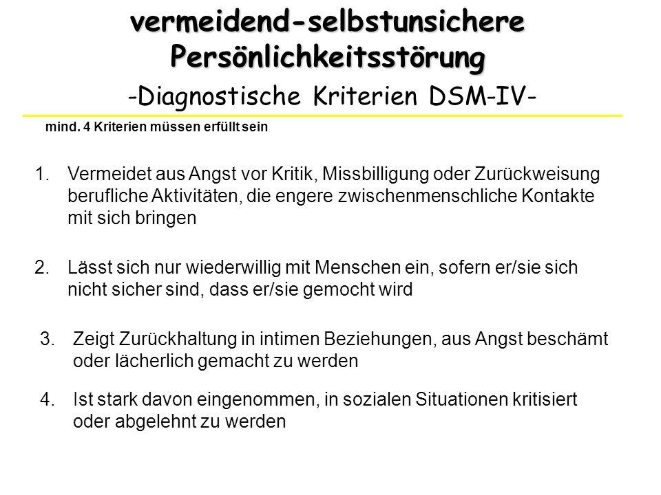 vermeidend-selbstunsichere Persönlichkeitsstörung -Diagnostische Kriterien DSM-IV- 1.Vermeidet aus Angst vor Kritik, Missbilligung oder Zurückweisung