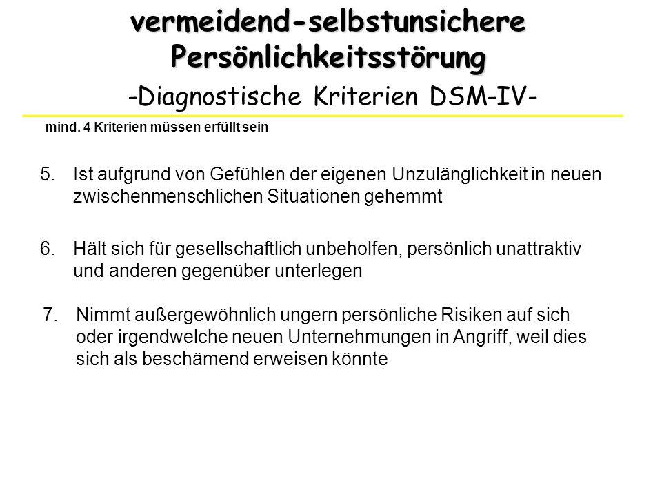 vermeidend-selbstunsichere Persönlichkeitsstörung -Diagnostische Kriterien DSM-IV- 6.Hält sich für gesellschaftlich unbeholfen, persönlich unattraktiv
