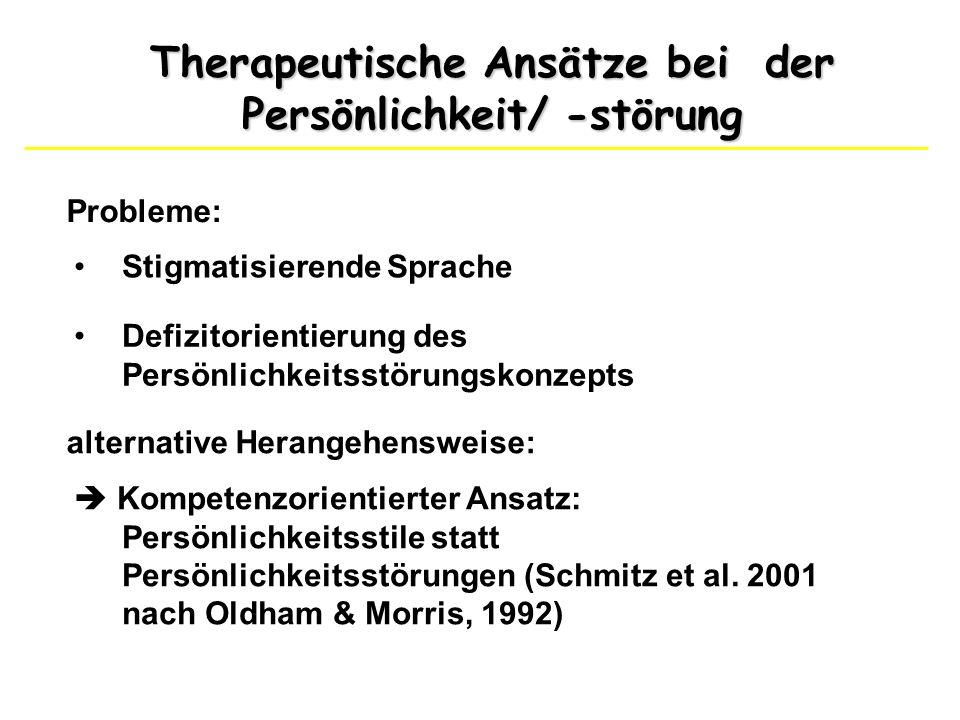 Therapeutische Ansätze bei der Persönlichkeit/ -störung Probleme: Stigmatisierende Sprache Defizitorientierung des Persönlichkeitsstörungskonzepts alt