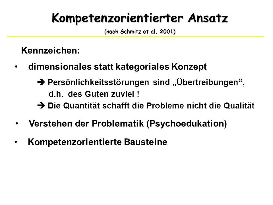 Kompetenzorientierter Ansatz (nach Schmitz et al. 2001) Kennzeichen: dimensionales statt kategoriales Konzept Persönlichkeitsstörungen sind Übertreibu
