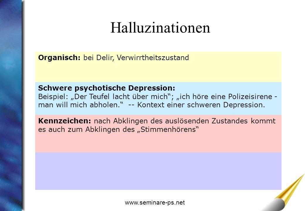www.seminare-ps.net Organisch: bei Delir, Verwirrtheitszustand Schwere psychotische Depression: Beispiel: Der Teufel lacht über mich; ich höre eine Polizeisirene - man will mich abholen.