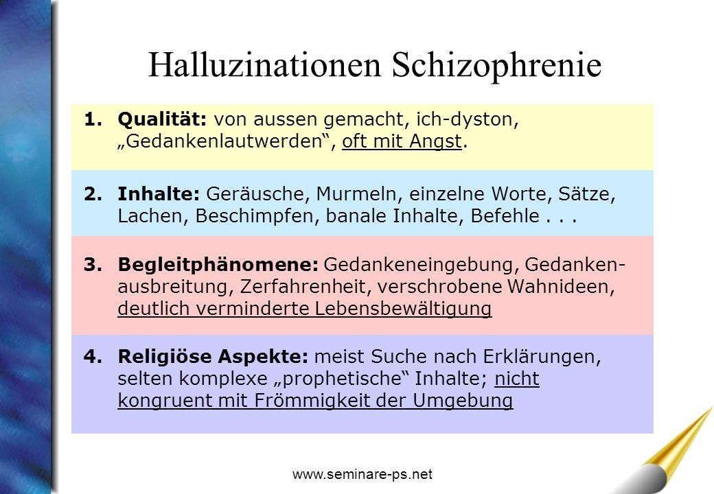 www.seminare-ps.net 1.Qualität: von aussen gemacht, ich-dyston, Gedankenlautwerden, oft mit Angst.
