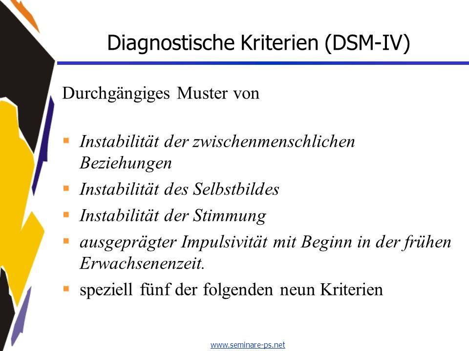 www.seminare-ps.net Diagnostische Kriterien (DSM-IV) Durchgängiges Muster von Instabilität der zwischenmenschlichen Beziehungen Instabilität des Selbs