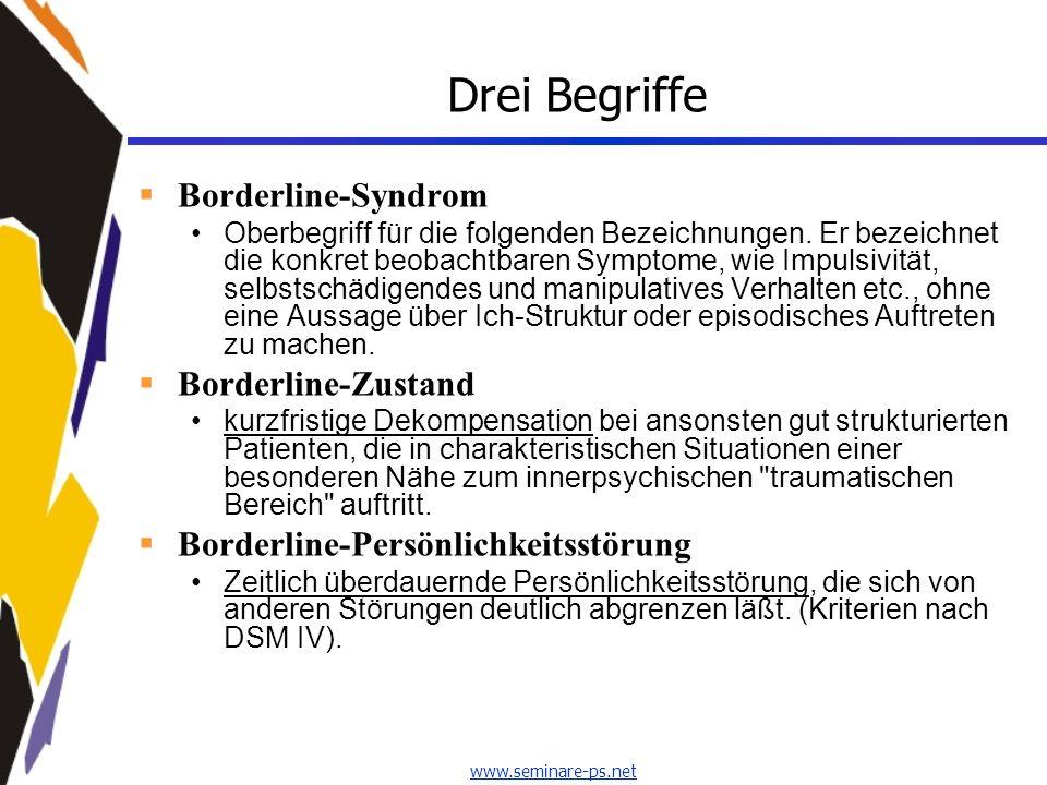 www.seminare-ps.net Drei Begriffe Borderline-Syndrom Oberbegriff für die folgenden Bezeichnungen. Er bezeichnet die konkret beobachtbaren Symptome, wi