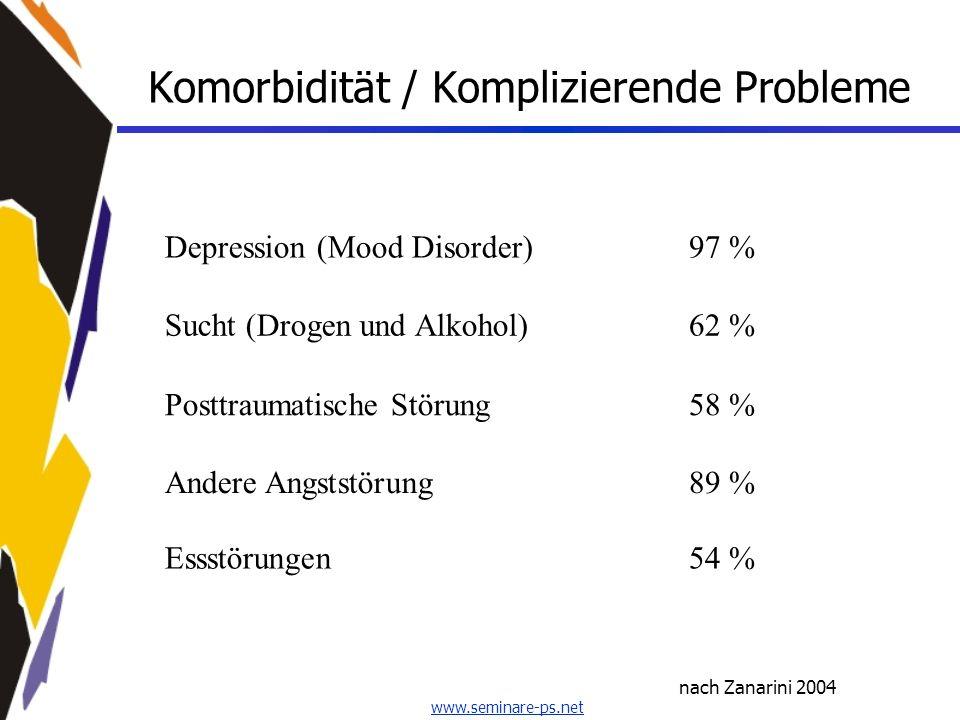 www.seminare-ps.net Komorbidität / Komplizierende Probleme nach Zanarini 2004 Depression (Mood Disorder)97 % Sucht (Drogen und Alkohol)62 % Posttrauma