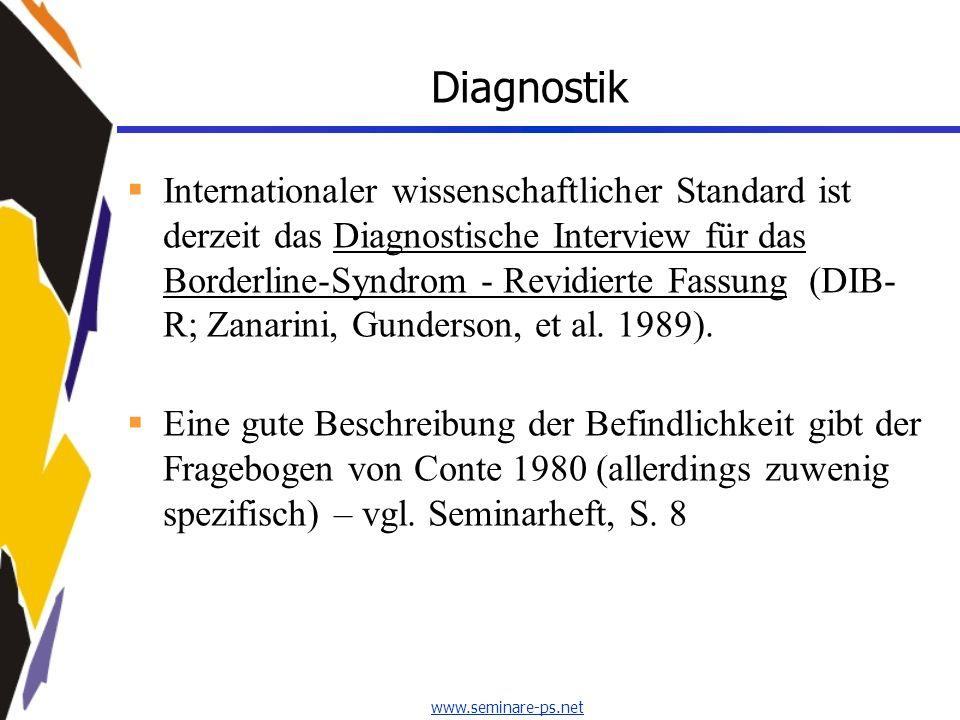 www.seminare-ps.net Diagnostik Internationaler wissenschaftlicher Standard ist derzeit das Diagnostische Interview für das Borderline-Syndrom - Revidi