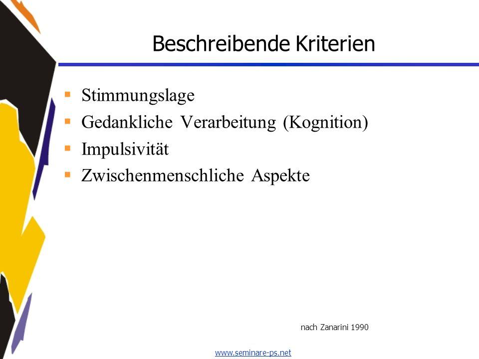 www.seminare-ps.net Beschreibende Kriterien Stimmungslage Gedankliche Verarbeitung (Kognition) Impulsivität Zwischenmenschliche Aspekte nach Zanarini