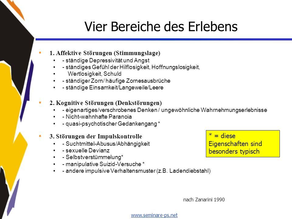 www.seminare-ps.net Vier Bereiche des Erlebens 1. Affektive Störungen (Stimmungslage) - ständige Depressivität und Angst - ständiges Gefühl der Hilflo