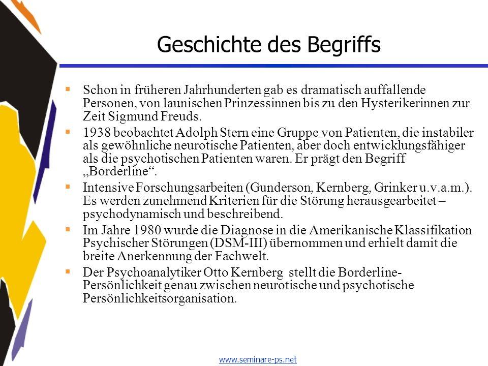 www.seminare-ps.net Drei Begriffe Borderline-Syndrom Oberbegriff für die folgenden Bezeichnungen.