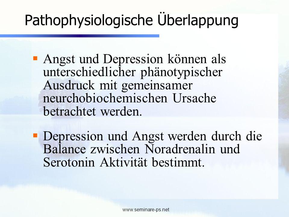www.seminare-ps.net Pathophysiologische Überlappung Angst und Depression können als unterschiedlicher phänotypischer Ausdruck mit gemeinsamer neurchob