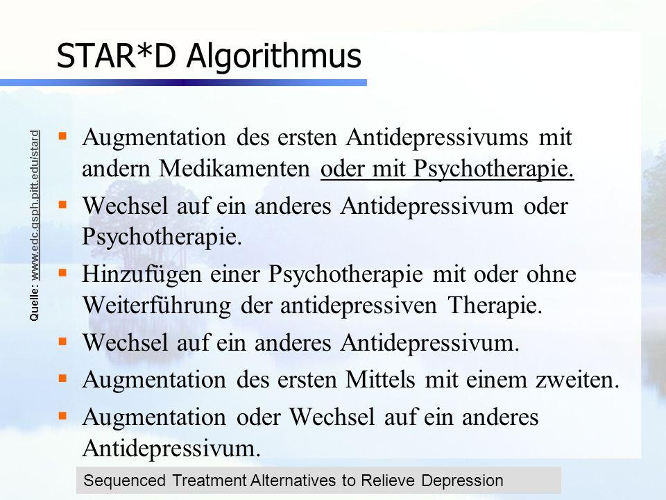 www.seminare-ps.net STAR*D Algorithmus Augmentation des ersten Antidepressivums mit andern Medikamenten oder mit Psychotherapie. Wechsel auf ein ander