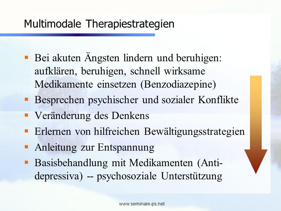 www.seminare-ps.net Multimodale Therapiestrategien Bei akuten Ängsten lindern und beruhigen: aufklären, beruhigen, schnell wirksame Medikamente einset