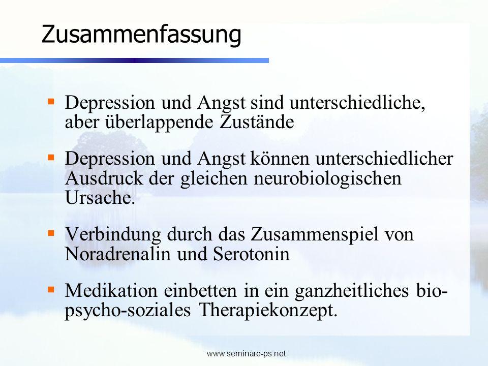 www.seminare-ps.net Zusammenfassung Depression und Angst sind unterschiedliche, aber überlappende Zustände Depression und Angst können unterschiedlich