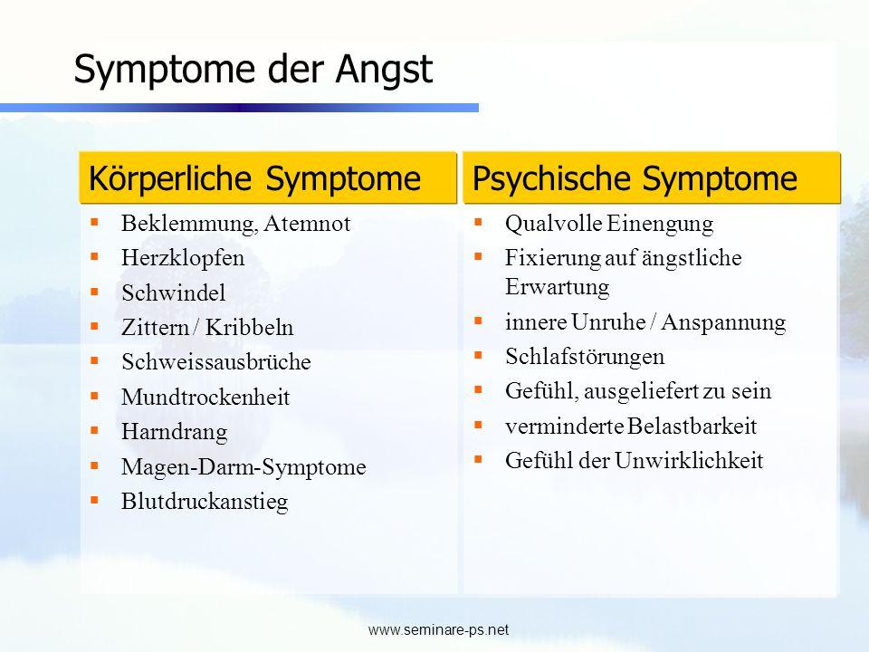 www.seminare-ps.net Symptome der Angst Beklemmung, Atemnot Herzklopfen Schwindel Zittern / Kribbeln Schweissausbrüche Mundtrockenheit Harndrang Magen-