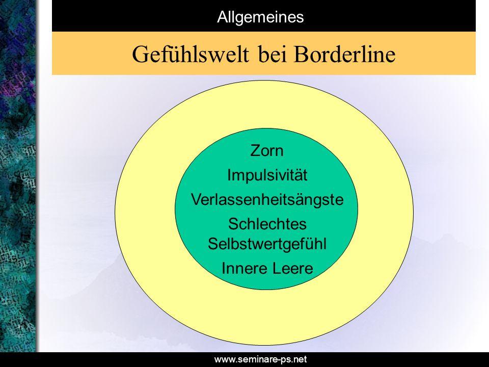 www.seminare-ps.net Allgemeines Gefühlswelt bei Borderline Zorn Impulsivität Verlassenheitsängste Schlechtes Selbstwertgefühl Innere Leere