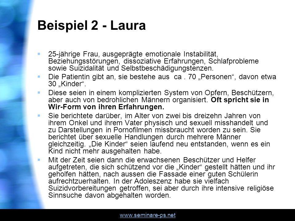 www.seminare-ps.net Beispiel 2 - Laura 25-jährige Frau, ausgeprägte emotionale Instabilität, Beziehungsstörungen, dissoziative Erfahrungen, Schlafprob