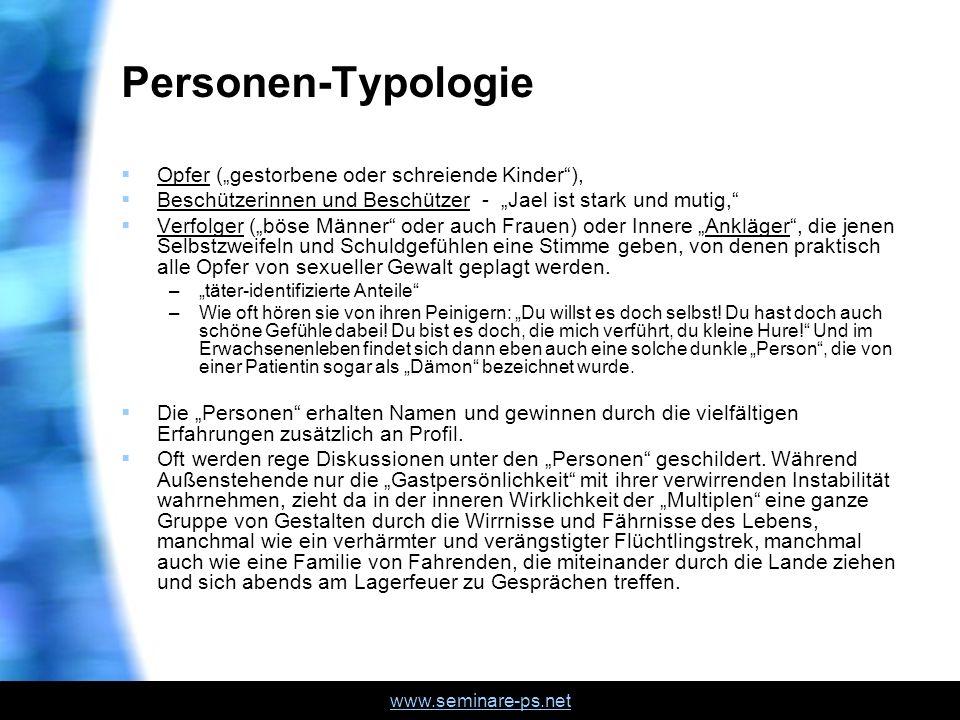 www.seminare-ps.net Personen-Typologie Opfer (gestorbene oder schreiende Kinder), Beschützerinnen und Beschützer - Jael ist stark und mutig, Verfolger