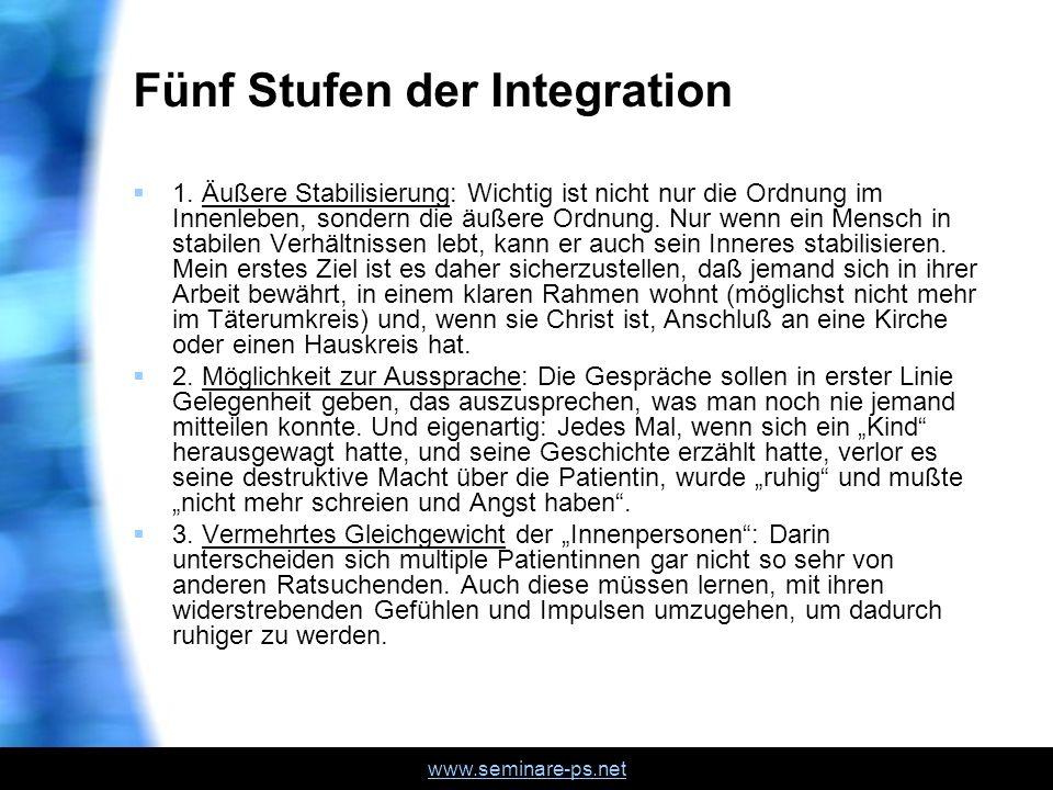 www.seminare-ps.net Fünf Stufen der Integration 1. Äußere Stabilisierung: Wichtig ist nicht nur die Ordnung im Innenleben, sondern die äußere Ordnung.