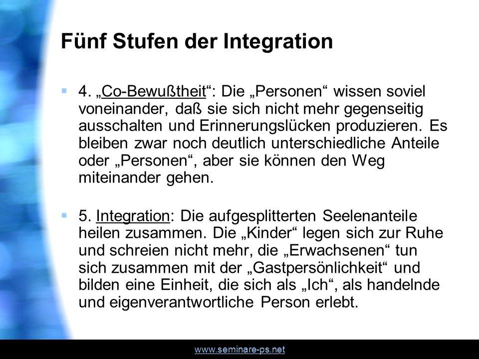 www.seminare-ps.net Fünf Stufen der Integration 4. Co-Bewußtheit: Die Personen wissen soviel voneinander, daß sie sich nicht mehr gegenseitig ausschal