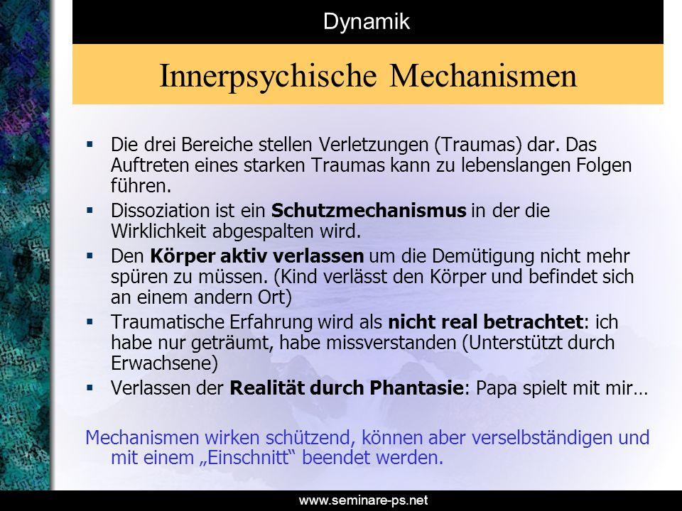 www.seminare-ps.net Innerpsychische Mechanismen Die drei Bereiche stellen Verletzungen (Traumas) dar. Das Auftreten eines starken Traumas kann zu lebe