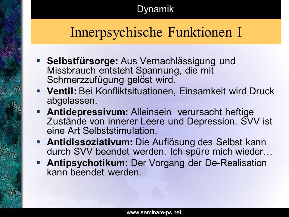 www.seminare-ps.net Innerpsychische Funktionen I Selbstfürsorge: Aus Vernachlässigung und Missbrauch entsteht Spannung, die mit Schmerzzufügung gelöst