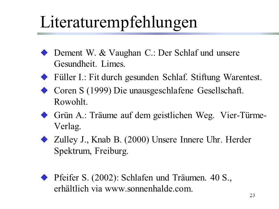 23 Literaturempfehlungen Dement W.& Vaughan C.: Der Schlaf und unsere Gesundheit.
