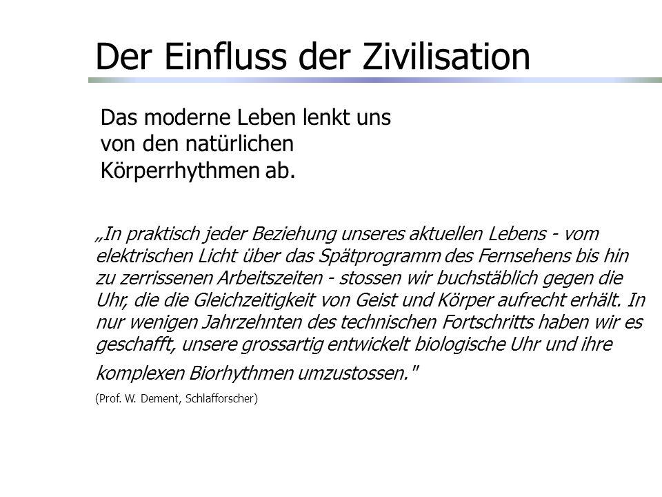 Der Einfluss der Zivilisation Das moderne Leben lenkt uns von den natürlichen Körperrhythmen ab.