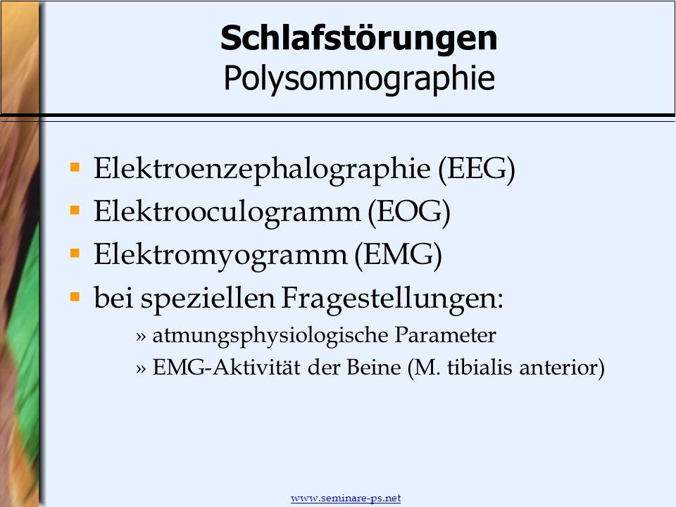 www.seminare-ps.net Schlafstörungen Polysomnographie Elektroenzephalographie (EEG) Elektrooculogramm (EOG) Elektromyogramm (EMG) bei speziellen Frages