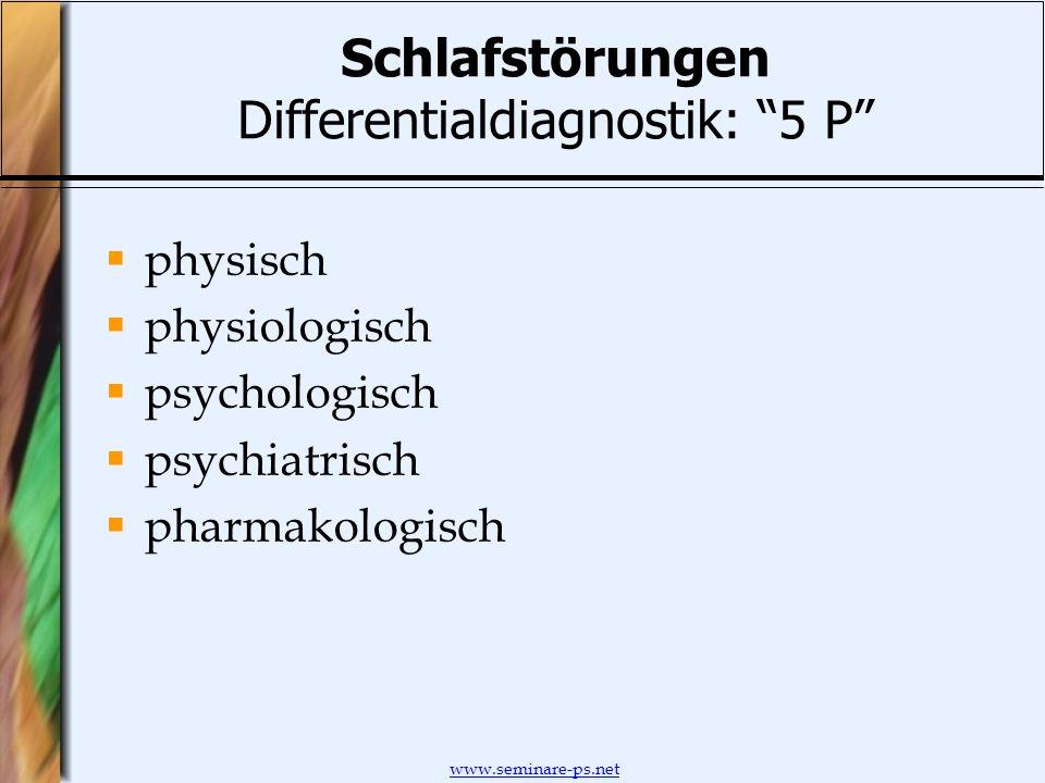 www.seminare-ps.net Schlafstörungen Differentialdiagnostik: 5 P physisch physiologisch psychologisch psychiatrisch pharmakologisch