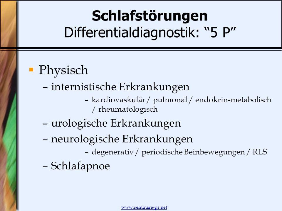 www.seminare-ps.net Schlafstörungen Differentialdiagnostik: 5 P Physisch –internistische Erkrankungen –kardiovaskulär / pulmonal / endokrin-metabolisc