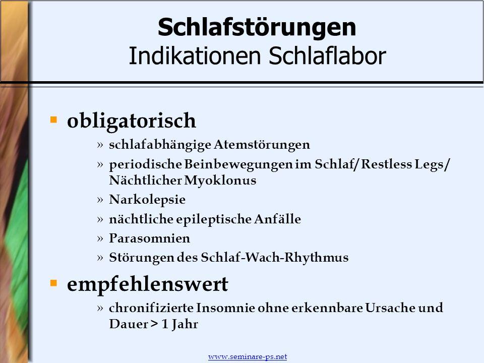 www.seminare-ps.net Schlafstörungen Indikationen Schlaflabor obligatorisch » schlafabhängige Atemstörungen » periodische Beinbewegungen im Schlaf/ Res