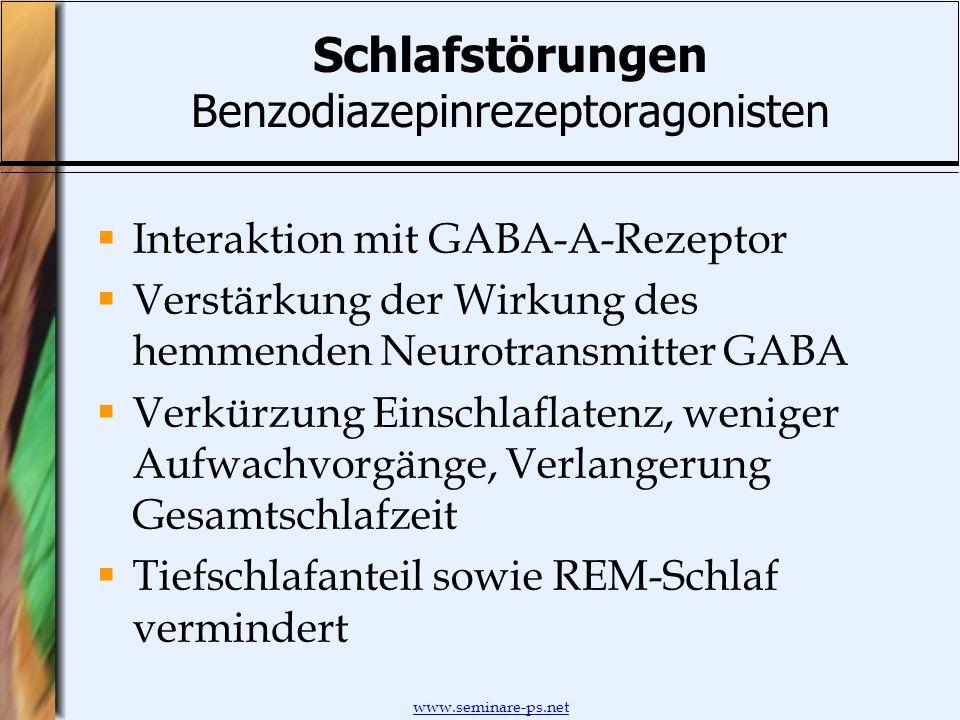 www.seminare-ps.net Schlafstörungen Benzodiazepinrezeptoragonisten Interaktion mit GABA-A-Rezeptor Verstärkung der Wirkung des hemmenden Neurotransmit