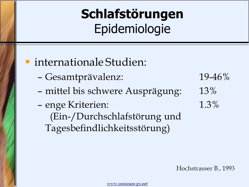 www.seminare-ps.net Schlafstörungen Epidemiologie internationale Studien: –Gesamtprävalenz:19-46% –mittel bis schwere Ausprägung:13% –enge Kriterien:1